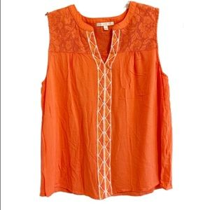 SKIES ARE BLUE Orange Lace & Embroider Top